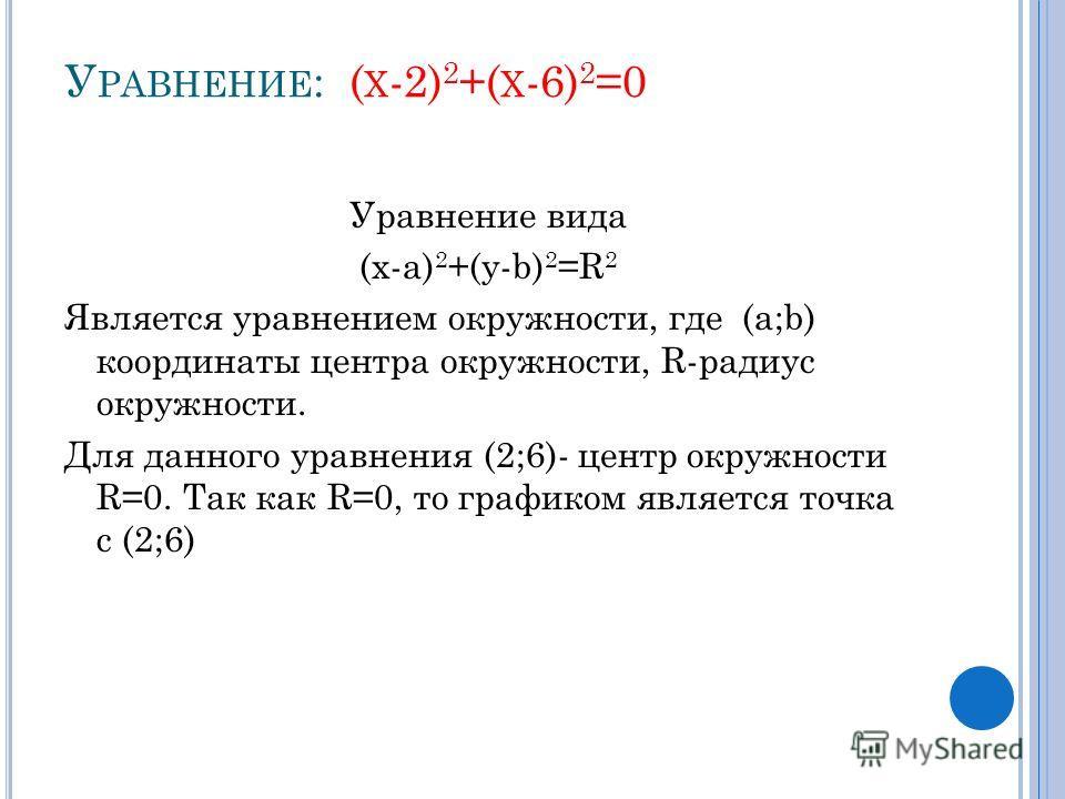 У РАВНЕНИЕ : ( Х -2) 2 +( Х -6) 2 =0 Уравнение вида (x-а) 2 +(y-b) 2 =R 2 Является уравнением окружности, где (a;b) координаты центра окружности, R-радиус окружности. Для данного уравнения (2;6)- центр окружности R=0. Так как R=0, то графиком являетс