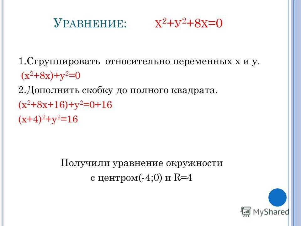 У РАВНЕНИЕ : Х 2 + У 2 +8 Х =0 1.Сгруппировать относительно переменных х и у. (х 2 +8х)+у 2 =0 2.Дополнить скобку до полного квадрата. (х 2 +8х+16)+у 2 =0+16 (х+4) 2 +у 2 =16 Получили уравнение окружности с центром(-4;0) и R=4