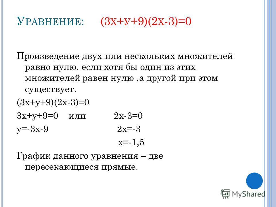 У РАВНЕНИЕ : (3 Х + У +9)(2 Х -3)=0 Произведение двух или нескольких множителей равно нулю, если хотя бы один из этих множителей равен нулю,а другой при этом существует. (3х+у+9)(2х-3)=0 3х+у+9=0 или 2х-3=0 у=-3х-9 2х=-3 х=-1,5 График данного уравнен