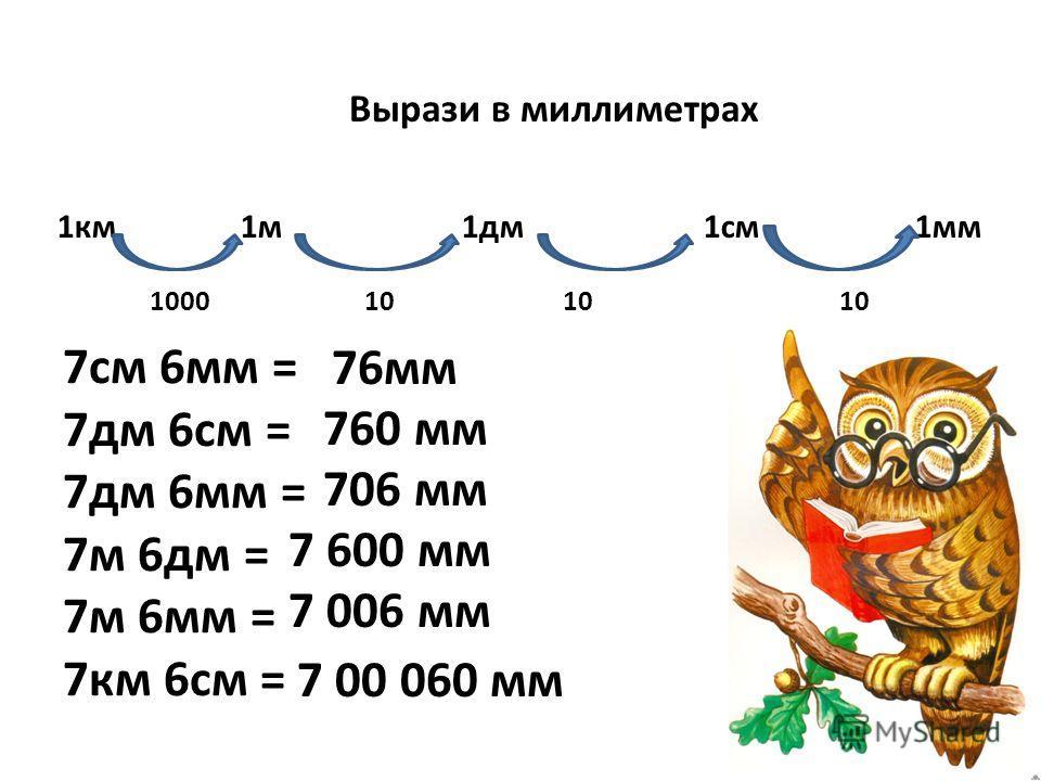 Вырази в миллиметрах 1км 1м 1дм 1см 1мм 1000 10 10 10 7см 6мм = 7дм 6см = 7дм 6мм = 7м 6дм = 7м 6мм = 7км 6см = 76мм 760 мм 706 мм 7 600 мм 7 006 мм 7 00 060 мм