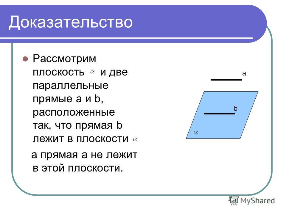 Доказательство Рассмотрим плоскость и две параллельные прямые a и b, расположенные так, что прямая b лежит в плоскости а прямая a не лежит в этой плоскости. b a