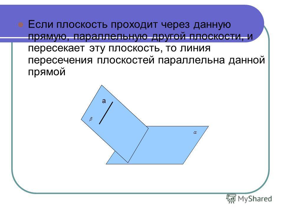 Если плоскость проходит через данную прямую, параллельную другой плоскости, и пересекает эту плоскость, то линия пересечения плоскостей параллельна данной прямой a