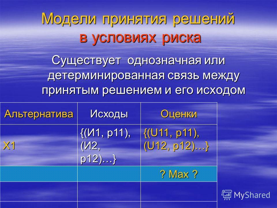 Модели принятия решений в условиях риска Существует однозначная или детерминированная связь между принятым решением и его исходом АльтернативаИсходыОценки X1 {(И1, р11), (И2, р12)…} {(U11, р11), (U12, р12)…} ? Max ?