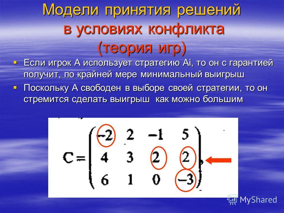 Модели принятия решений в условиях конфликта (теория игр) Если игрок А использует стратегию Аi, то он с гарантией получит, по крайней мере минимальный выигрыш Если игрок А использует стратегию Аi, то он с гарантией получит, по крайней мере минимальны
