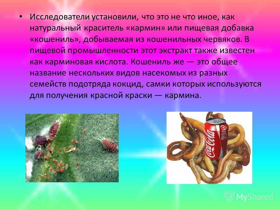 Исследователи установили, что это не что иное, как натуральный краситель «кармин» или пищевая добавка «кошениль», добываемая из кошенильных червяков. В пищевой промышленности этот экстракт также известен как карминовая кислота. Кошениль же это общее