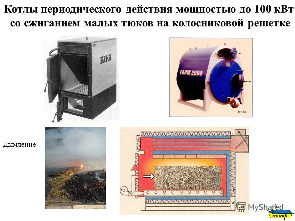 19 Котлы периодического действия мощностью до 100 кВт со сжиганием малых тюков на колосниковой решетке Дымление