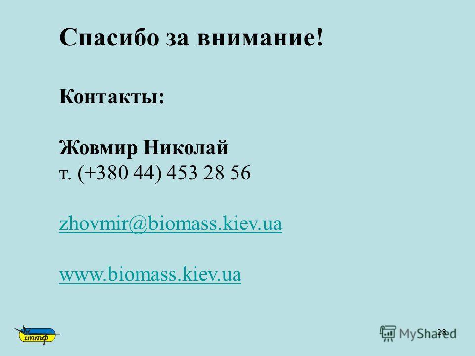 28 Спасибо за внимание! Контакты: Жовмир Николай т. (+380 44) 453 28 56 zhovmir@biomass.kiev.ua www.biomass.kiev.ua