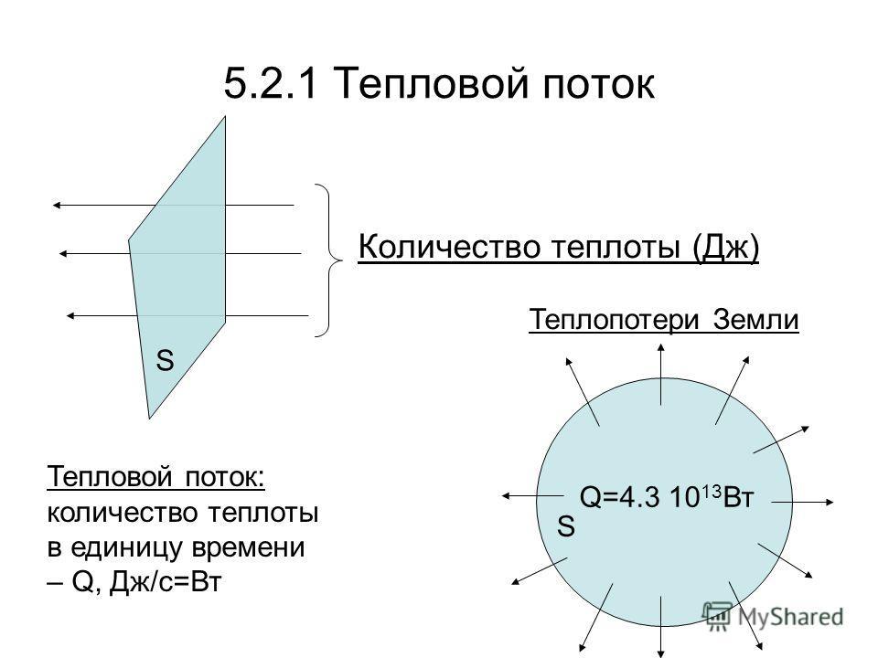 5.2.1 Тепловой поток S Количество теплоты (Дж) S Q=4.3 10 13 Вт Тепловой поток: количество теплоты в единицу времени – Q, Дж/c=Вт Теплопотери Земли
