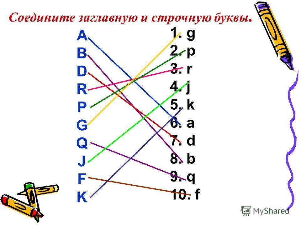 Соедините заглавную и строчную буквы. A B D R P G Q J F K 1. g 2. p 3. r 4. j 5. k 6. a 7. d 8. b 9. q 10. f