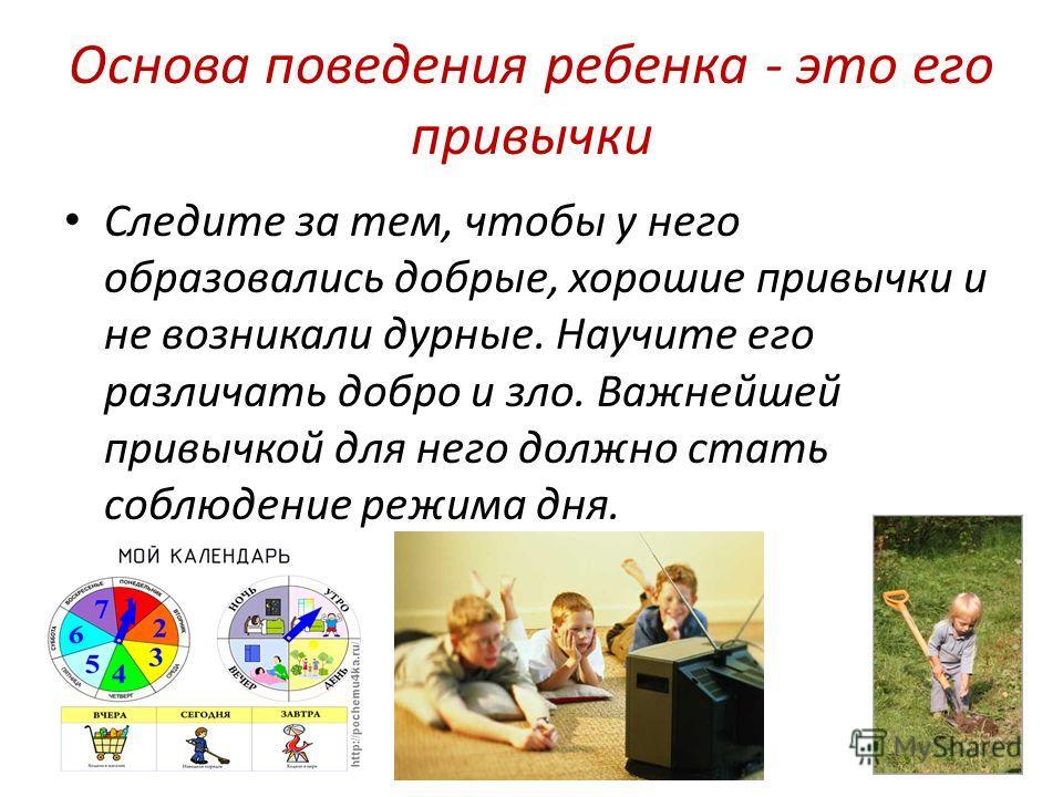 Основа поведения ребенка - это его привычки Следите за тем, чтобы у него образовались добрые, хорошие привычки и не возникали дурные. Научите его различать добро и зло. Важнейшей привычкой для него должно стать соблюдение режима дня.