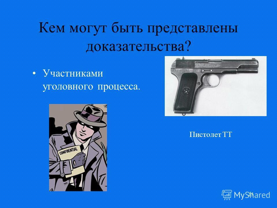 25 Кем могут быть представлены доказательства? Участниками уголовного процесса. Пистолет ТТ