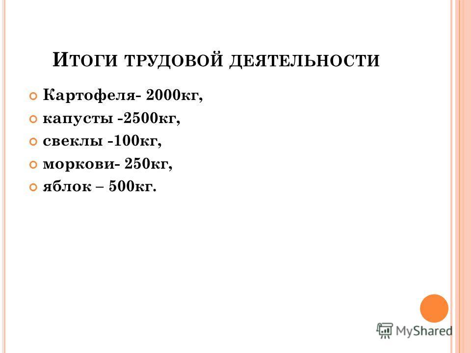 И ТОГИ ТРУДОВОЙ ДЕЯТЕЛЬНОСТИ Картофеля- 2000кг, капусты -2500кг, свеклы -100кг, моркови- 250кг, яблок – 500кг.