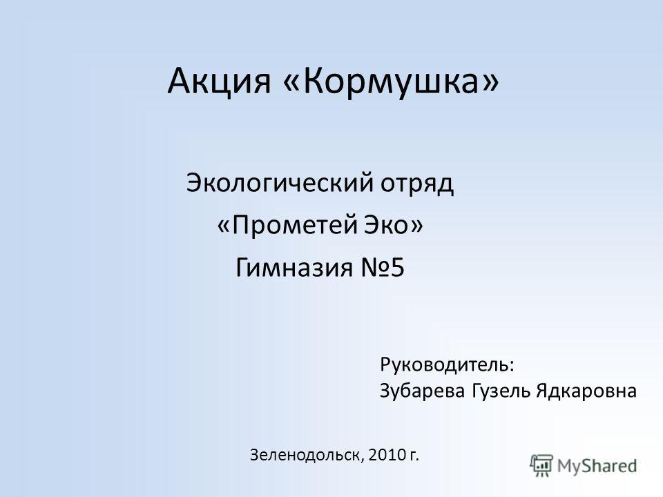 Акция «Кормушка» Экологический отряд «Прометей Эко» Гимназия 5 Руководитель: Зубарева Гузель Ядкаровна Зеленодольск, 2010 г.