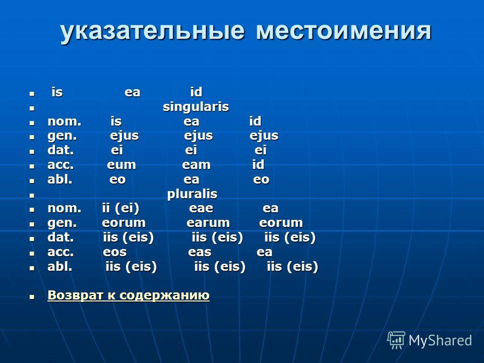 указательные местоимения указательные местоимения is ea id is ea id singularis singularis nom. is ea id nom. is ea id gen. ejus ejus ejus gen. ejus ejus ejus dat. ei ei ei dat. ei ei ei acc. eum eam id acc. eum eam id abl. eo ea eo abl. eo ea eo plur