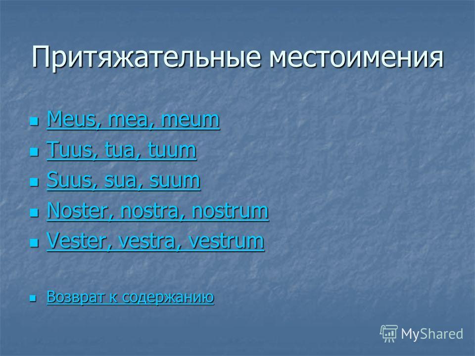 Притяжательные местоимения Meus, mea, meum Meus, mea, meum Meus, mea, meum Meus, mea, meum Tuus, tua, tuum Tuus, tua, tuum Tuus, tua, tuum Tuus, tua, tuum Suus, sua, suum Suus, sua, suum Suus, sua, suum Suus, sua, suum Noster, nostra, nostrum Noster,