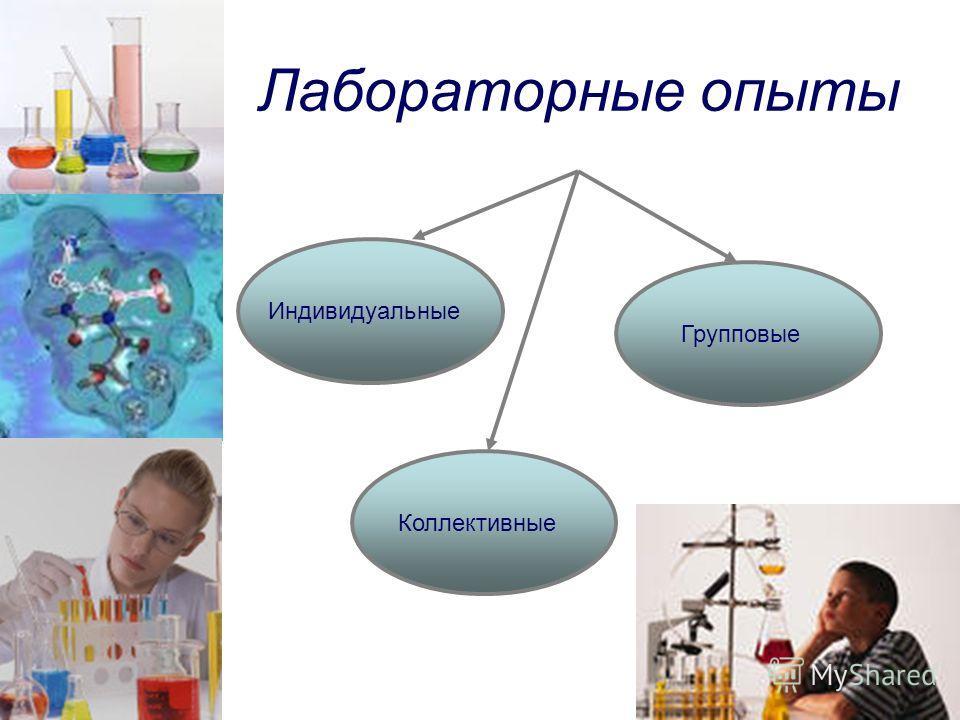 Лабораторные опыты Индивидуальные Коллективные Групповые