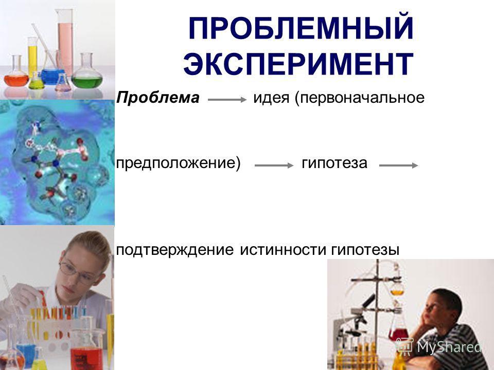 ПРОБЛЕМНЫЙ ЭКСПЕРИМЕНТ Проблема идея (первоначальное предположение) гипотеза подтверждение истинности гипотезы