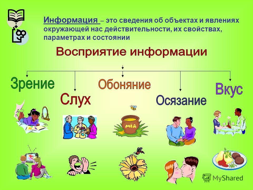 Информация – это сведения об объектах и явлениях окружающей нас действительности, их свойствах, параметрах и состоянии