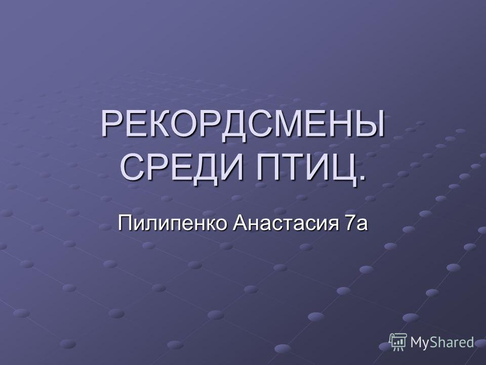 РЕКОРДСМЕНЫ СРЕДИ ПТИЦ. Пилипенко Анастасия 7а