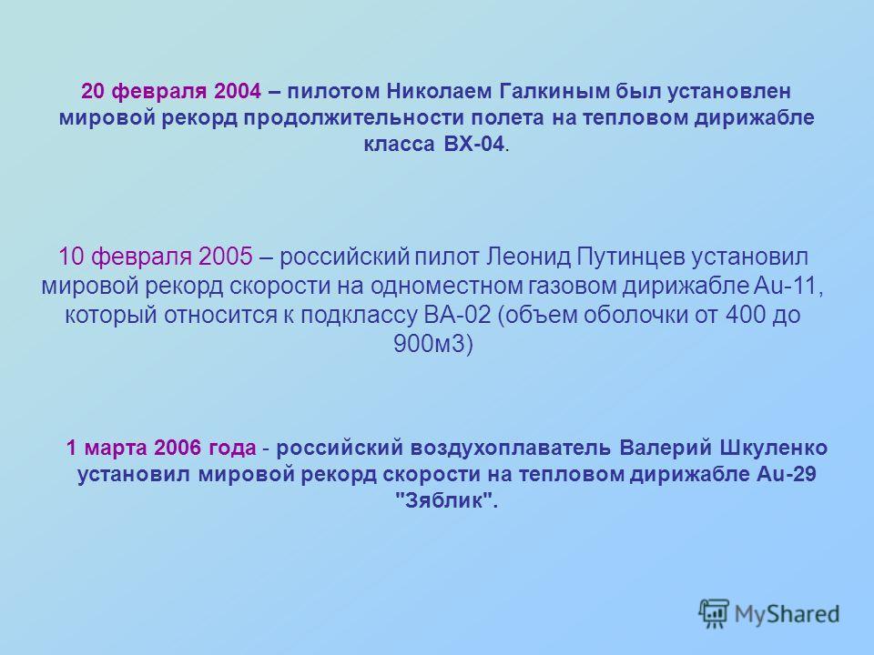 1 марта 2006 года - российский воздухоплаватель Валерий Шкуленко установил мировой рекорд скорости на тепловом дирижабле Au-29