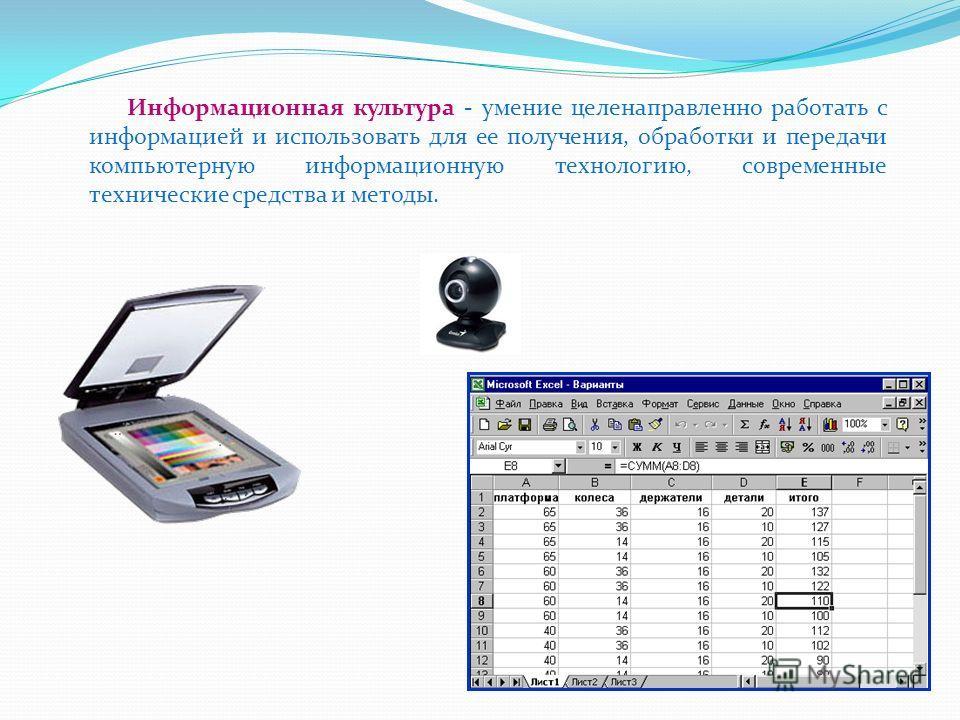 Информационная культура - умение целенаправленно работать с информацией и использовать для ее получения, обработки и передачи компьютерную информационную технологию, современные технические средства и методы.