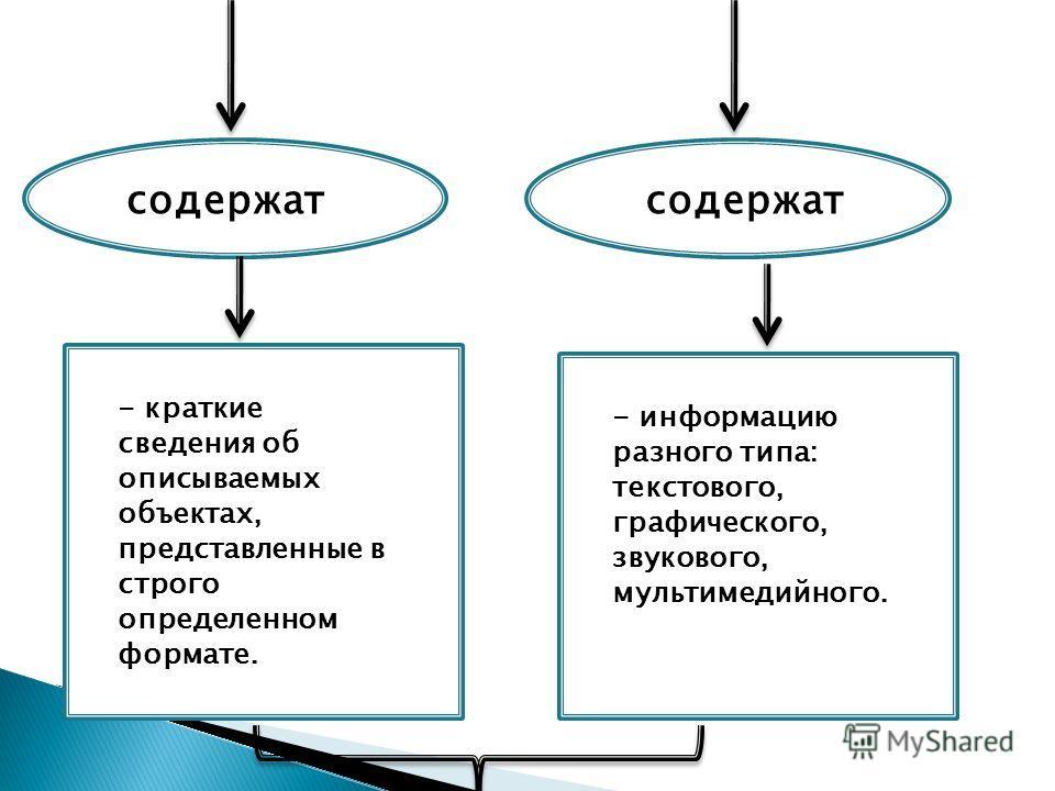содержат - краткие сведения об описываемых объектах, представленные в строго определенном формате. - информацию разного типа: текстового, графического, звукового, мультимедийного.