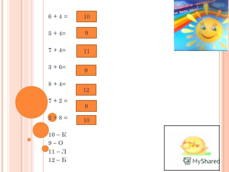 6 + 4 = 5 + 4= 7 + 4= 3 + 6= 8 + 4= 7 + 2 = 2 + 8 = 10 – К 9 – О 11 – Л 12 – Б 10 9 11 9 12 9 10