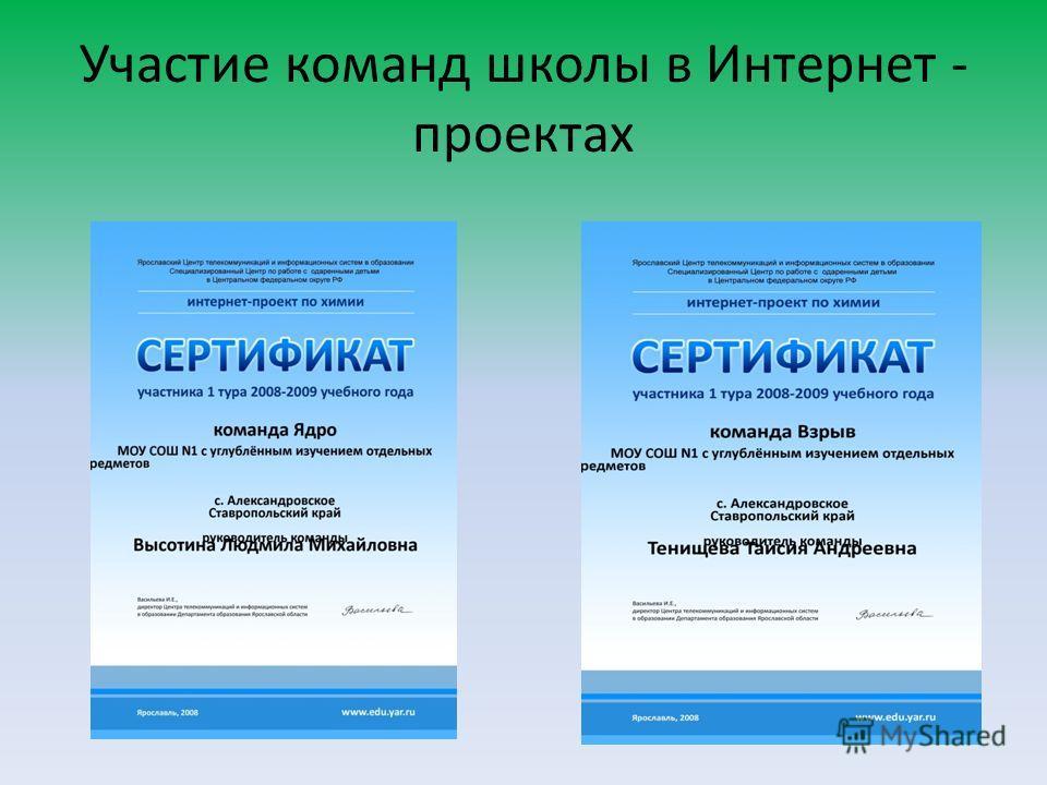 Участие команд школы в Интернет - проектах