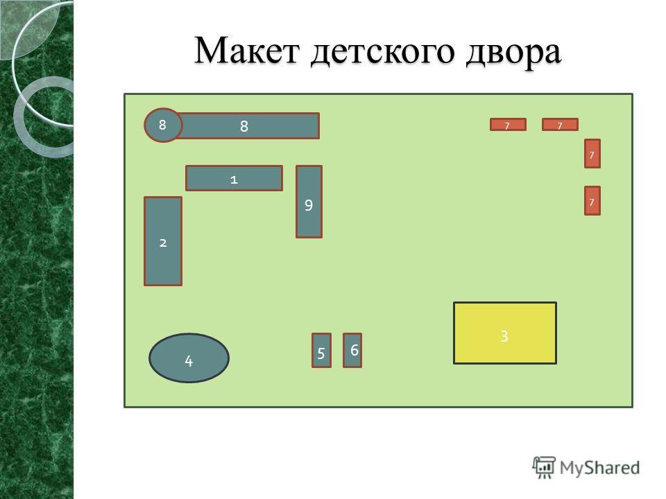 Макет детского двора 8 8 1 2 9 4 56 3 7 7 77