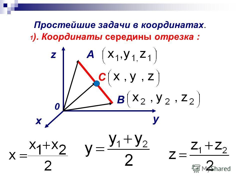 Простейшие задачи в координатах. 1 ). Координаты середины отрезка : x y z 0 A B C