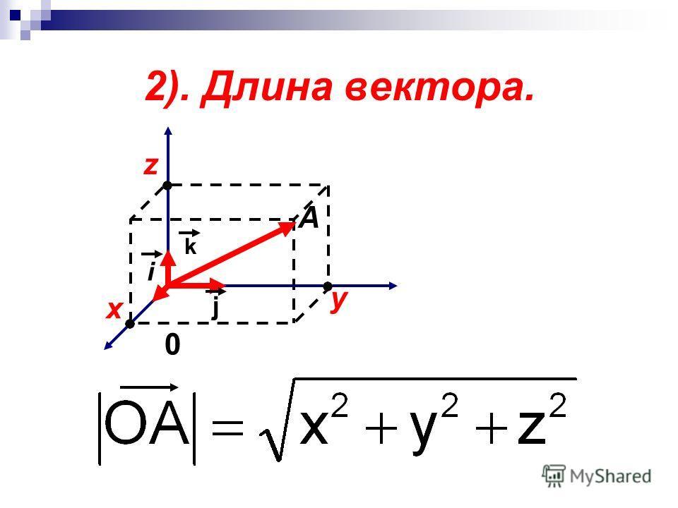 2). Длина вектора. x y z 0 i j k A