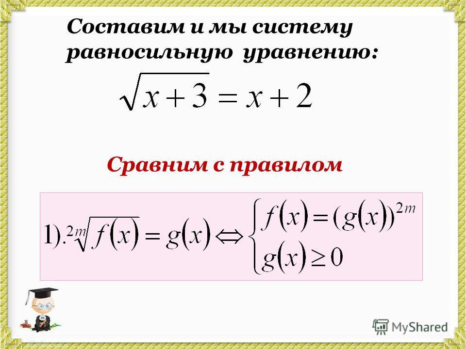 Составим и мы систему равносильную уравнению: Сравним с правилом