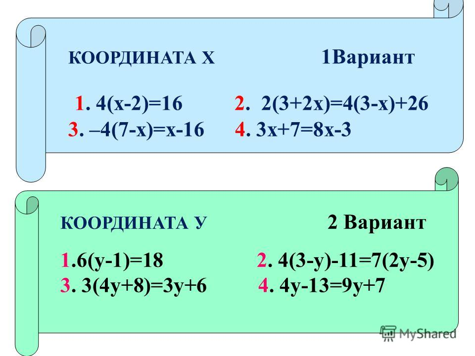Достроить фигурку кошки, предварительно решив уравнения. Корни уравнений 1 варианта являются абсциссами, а корни уравнений 2 варианта – ординатами искомых точек.