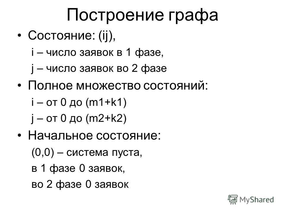 Построение графа Состояние: (ij), i – число заявок в 1 фазе, j – число заявок во 2 фазе Полное множество состояний: i – от 0 до (m1+k1) j – от 0 до (m2+k2) Начальное состояние: (0,0) – система пуста, в 1 фазе 0 заявок, во 2 фазе 0 заявок