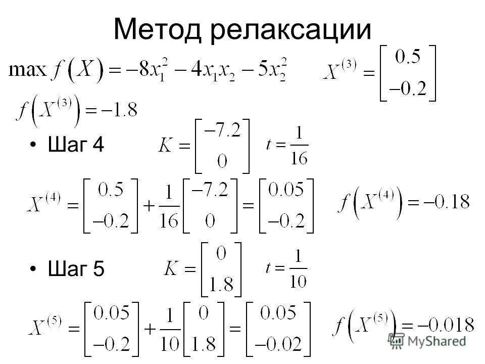Метод релаксации Шаг 4 Шаг 5