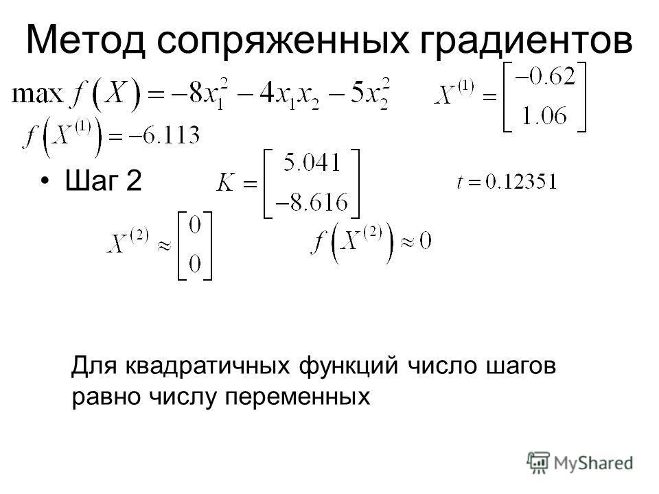 Метод сопряженных градиентов Шаг 2 Для квадратичных функций число шагов равно числу переменных