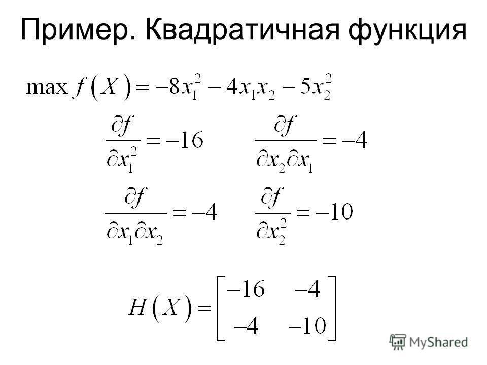 Пример. Квадратичная функция