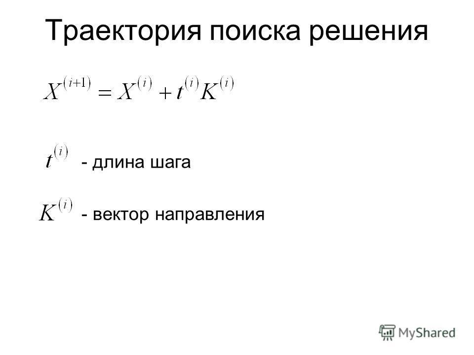 Траектория поиска решения - длина шага - вектор направления