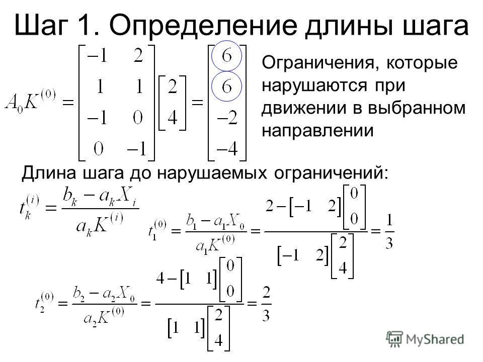 Ограничения, которые нарушаются при движении в выбранном направлении Шаг 1. Определение длины шага Длина шага до нарушаемых ограничений: