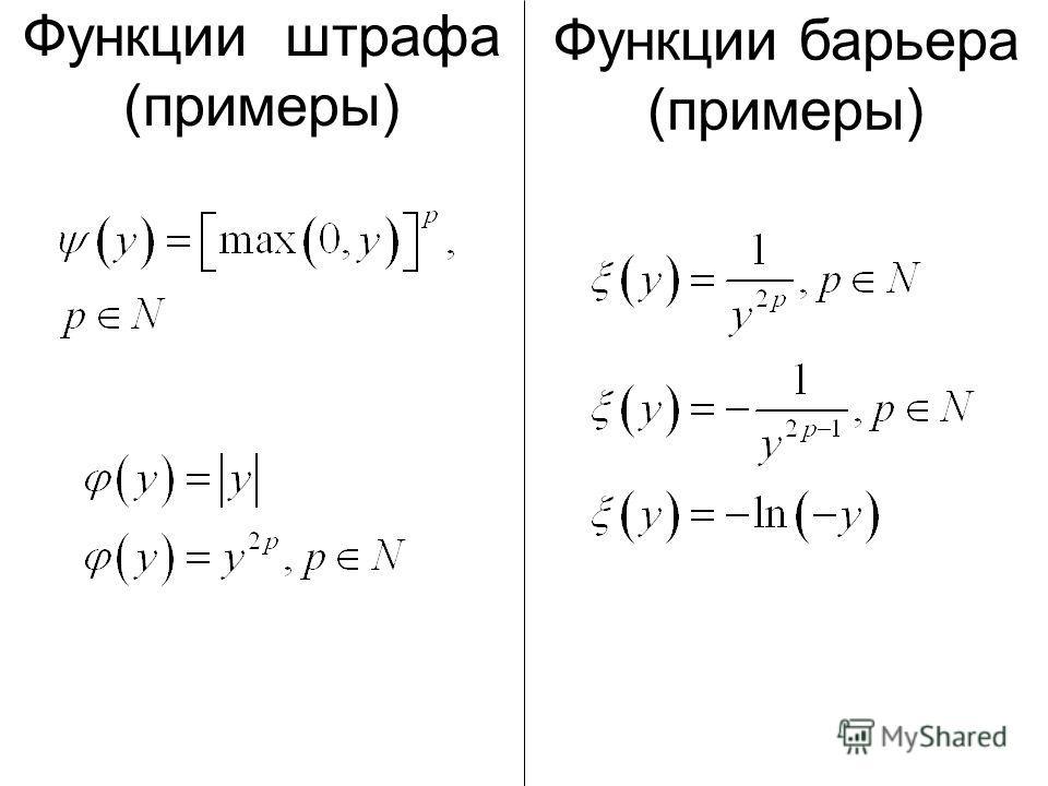 Функции штрафа (примеры) Функции барьера (примеры)