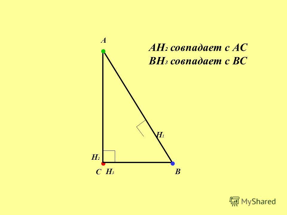 . H1 H1 H2H2. H3H3. А B C AH 2 совпадает с АС BH 3 совпадает с ВС