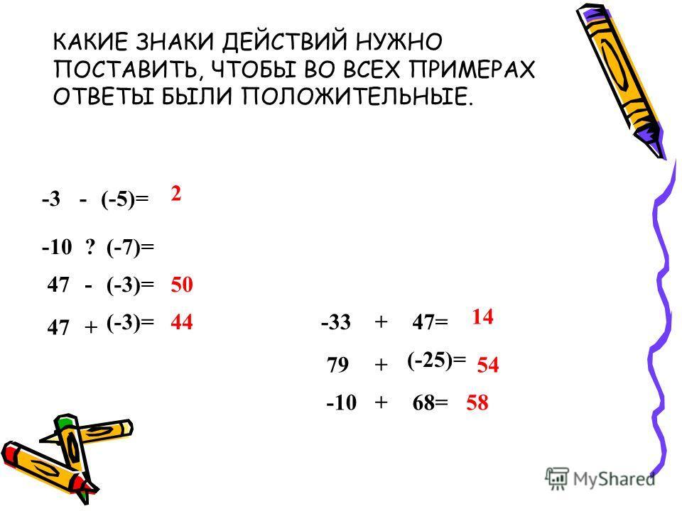 -3-(-5)= 2 -33+47= 14 -10?(-7)= (-25)= 54 -10+68=58 47-(-3)=50 47+ (-3)=44 79+ КАКИЕ ЗНАКИ ДЕЙСТВИЙ НУЖНО ПОСТАВИТЬ, ЧТОБЫ ВО ВСЕХ ПРИМЕРАХ ОТВЕТЫ БЫЛИ ПОЛОЖИТЕЛЬНЫЕ.