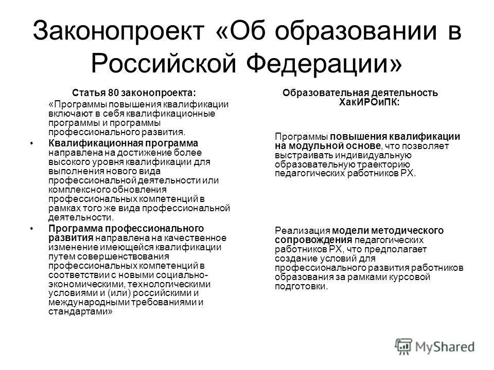 Законопроект «Об образовании в Российской Федерации» Статья 80 законопроекта: «Программы повышения квалификации включают в себя квалификационные программы и программы профессионального развития. Квалификационная программа направлена на достижение бол