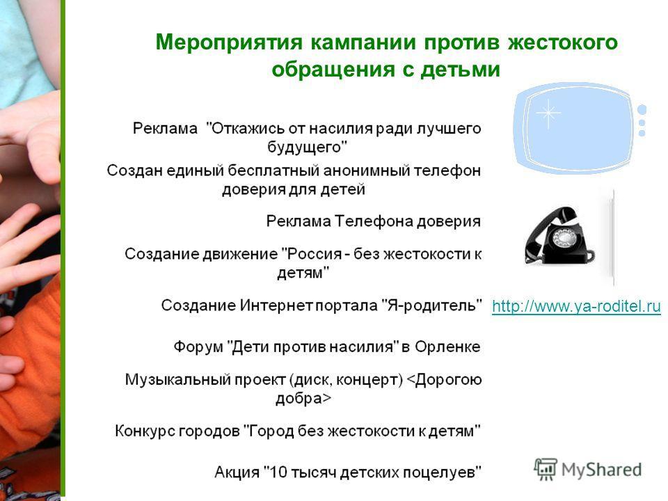 Мероприятия кампании против жестокого обращения с детьми http://www.ya-roditel.ru