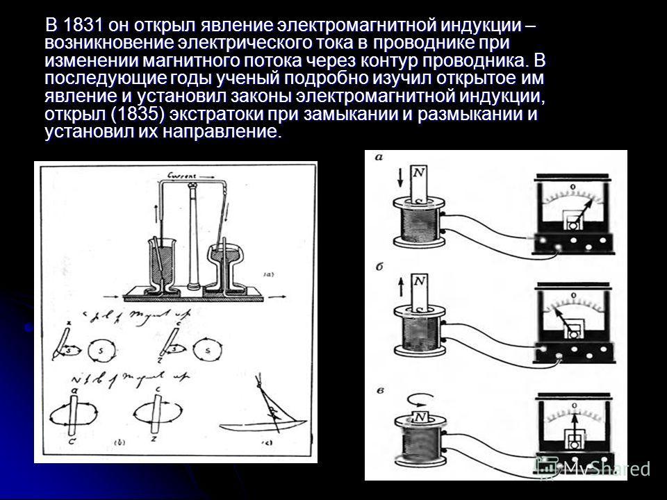 В 1831 он открыл явление электромагнитной индукции – возникновение электрического тока в проводнике при изменении магнитного потока через контур проводника. В последующие годы ученый подробно изучил открытое им явление и установил законы электромагни