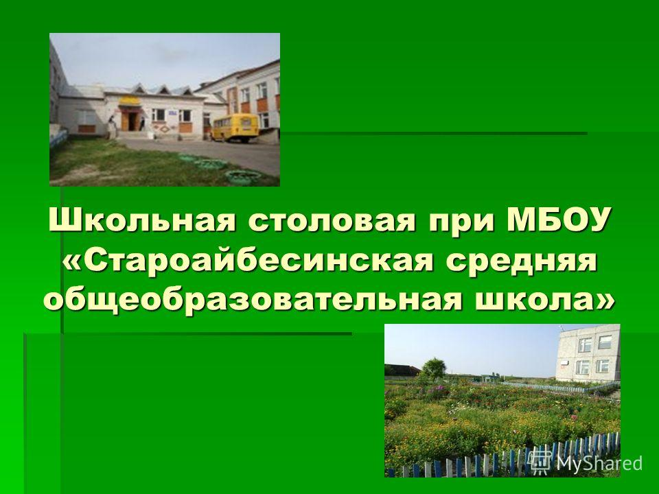 Школьная столовая при МБОУ «Староайбесинская средняя общеобразовательная школа»