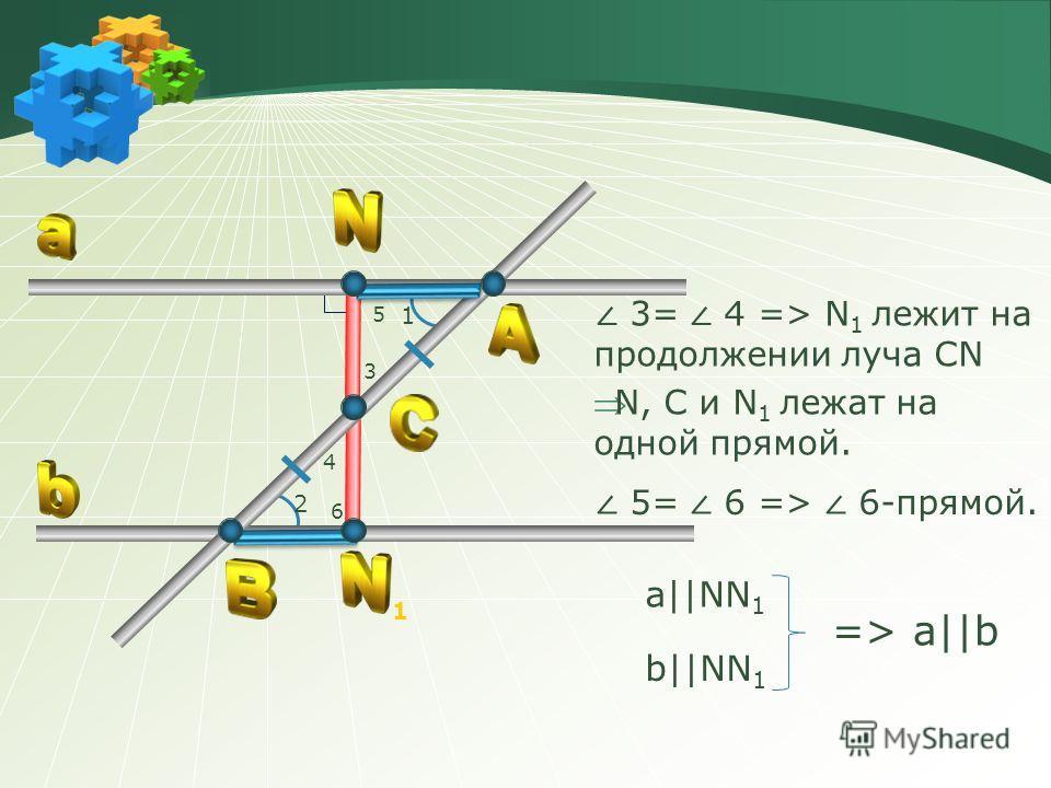 5= 6 => 6-прямой. a||NN 1 b||NN 1 => a||b 3 4 5 6 1 2 1 3= 4 => N 1 лежит на продолжении луча CN N, C и N 1 лежат на одной прямой.