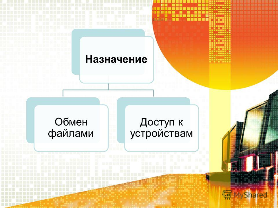 Назначение Обмен файлами Доступ к устройствам