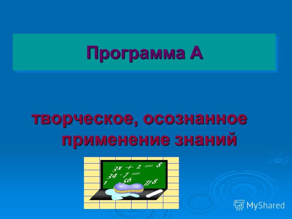 Программа А творческое, осознанное применение знаний