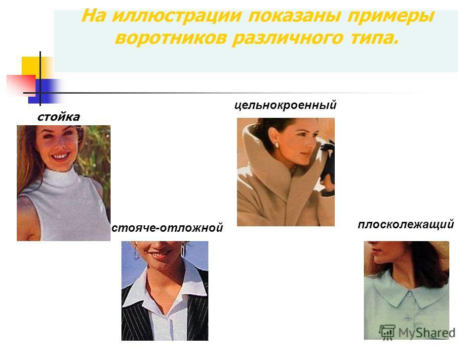 На иллюстрации показаны примеры воротников различного типа. стойка цельнокроенный плосколежащий стояче-отложной